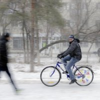 """зимний"" велосипедист :: Александр"