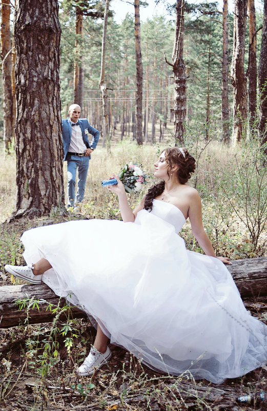Свадебная фотосессия в лесу - марина алексеева