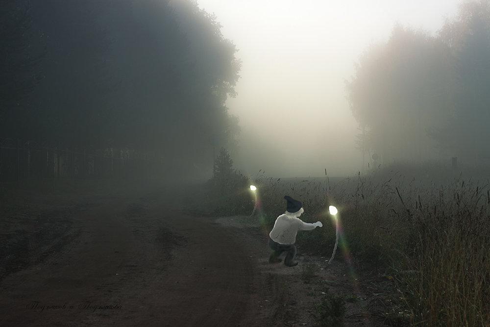 Гномик огоньки зажигает, чтоб никто в тумане не заблудился. - Подъяков Анатолий
