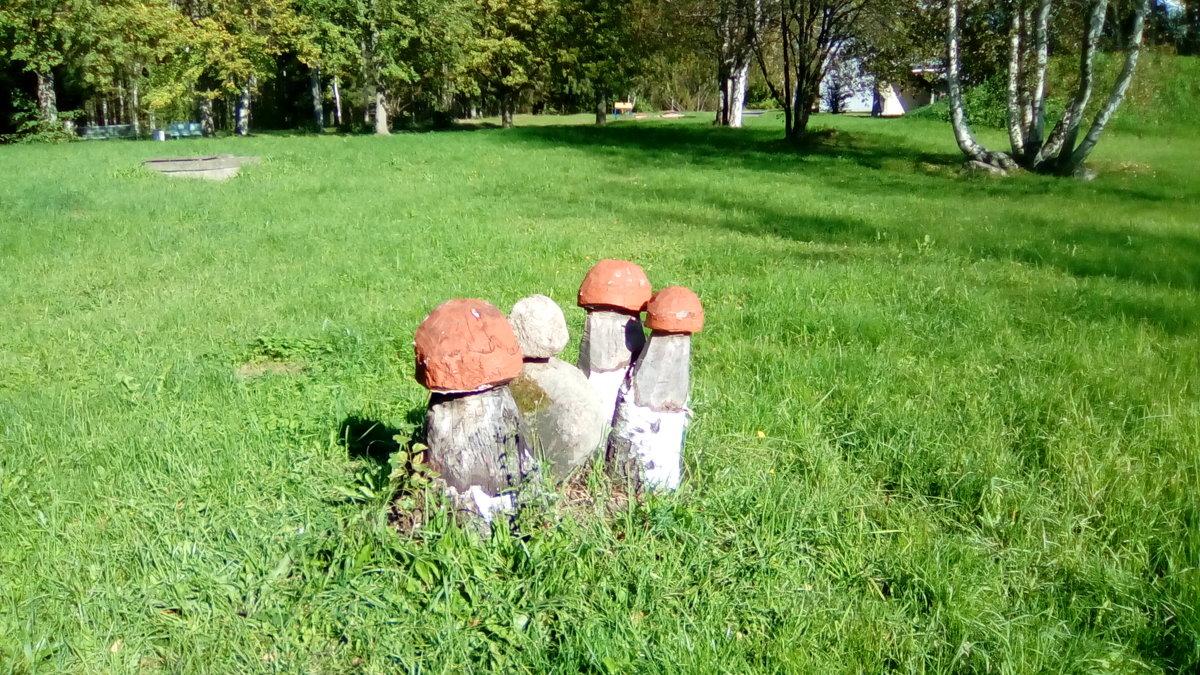 """Скульптура """"Красные грибочки"""", сделана из камня. ( Санаторий """"Заря"""", п. Репино) - Светлана Калмыкова"""
