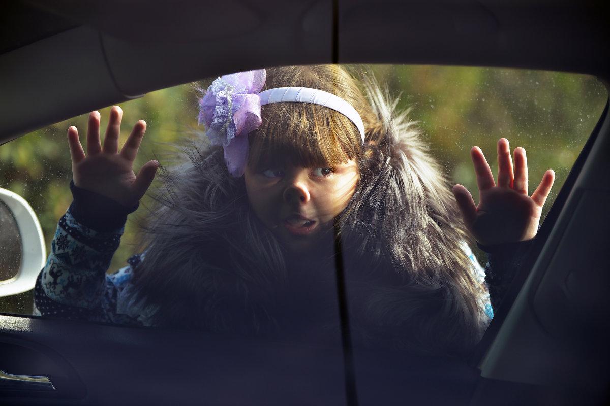 дочка Катя заглядывает в нашу машину - Сергей Воробьев