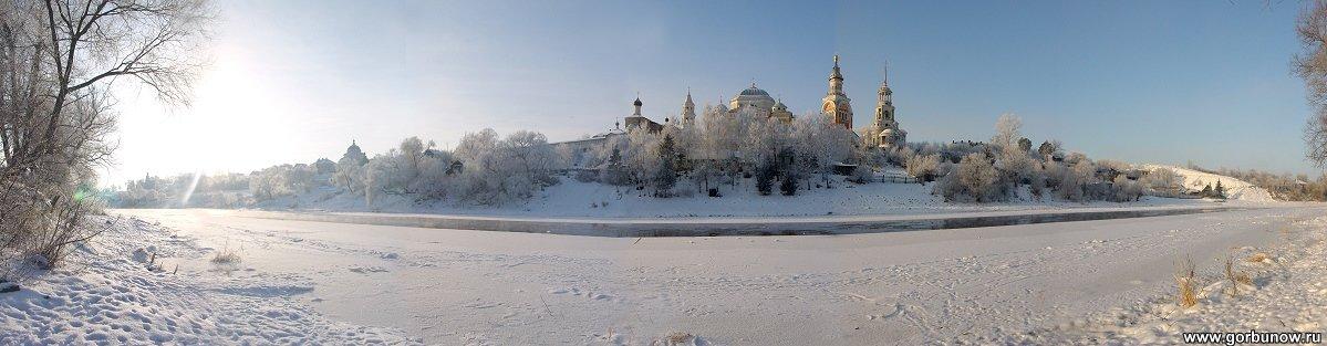 Торжок. Панорама борисоглебского монастыря. Зима - Александр Горбунов