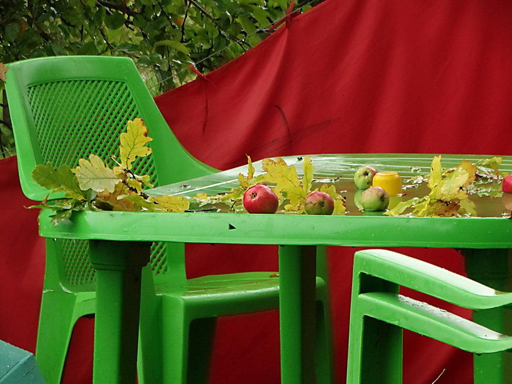 Столик,дождь и яблоки - Владимир Гилясев