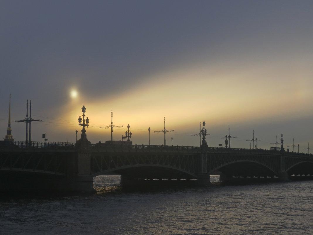 Троицкий мост мрачным вечером - Елена
