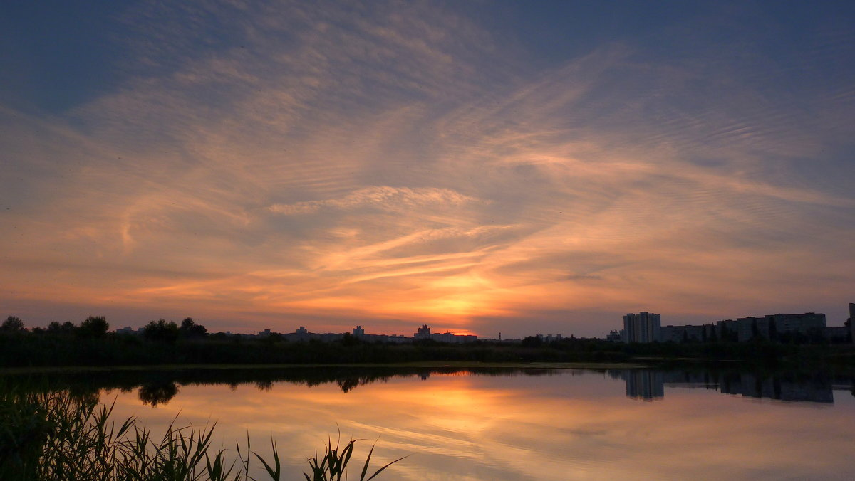 закатное небо над озером - Александр Прокудин