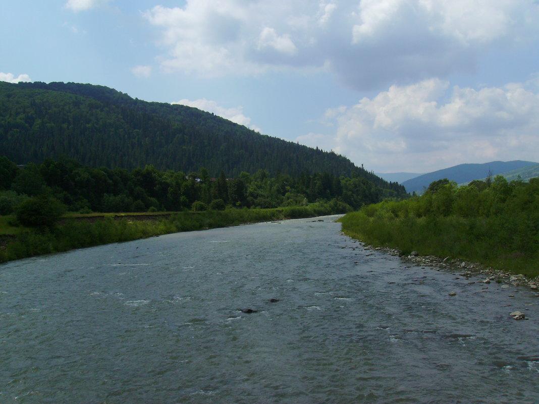 Река  Прут   и   Карпатские   горы   в   Делятине - Андрей  Васильевич Коляскин