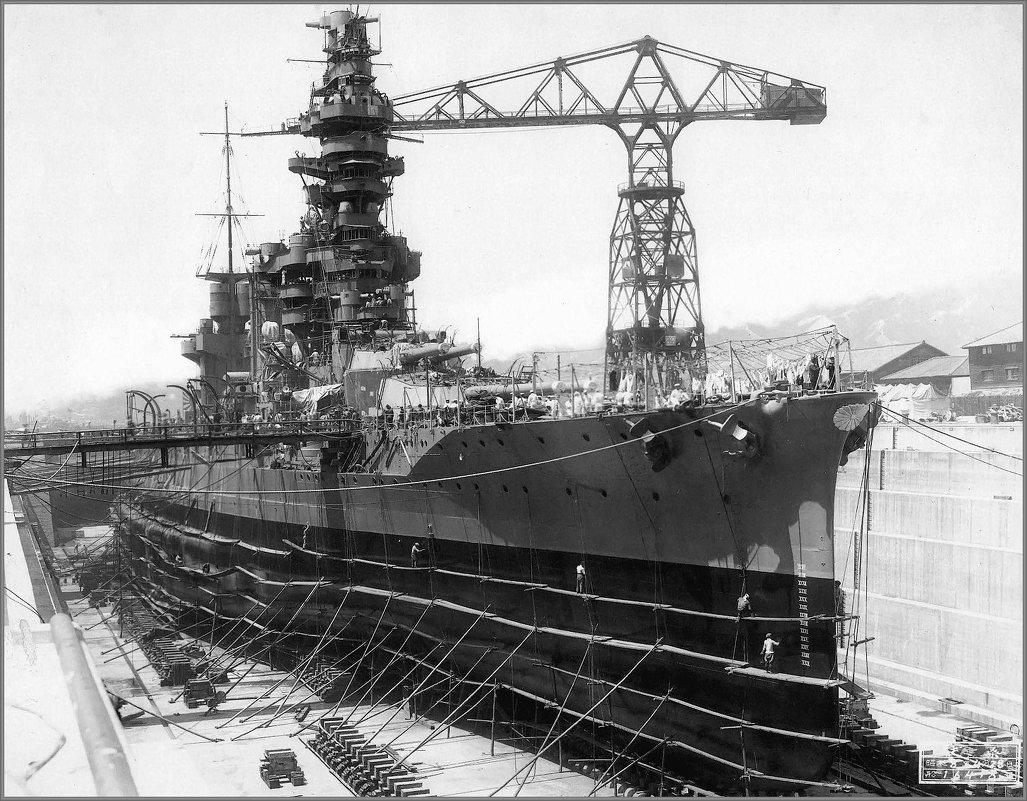 "Imperial Japanese Navy battleship ""Fuso"" in drydock, Kure, Japan, April 28th 1933. - Александр"