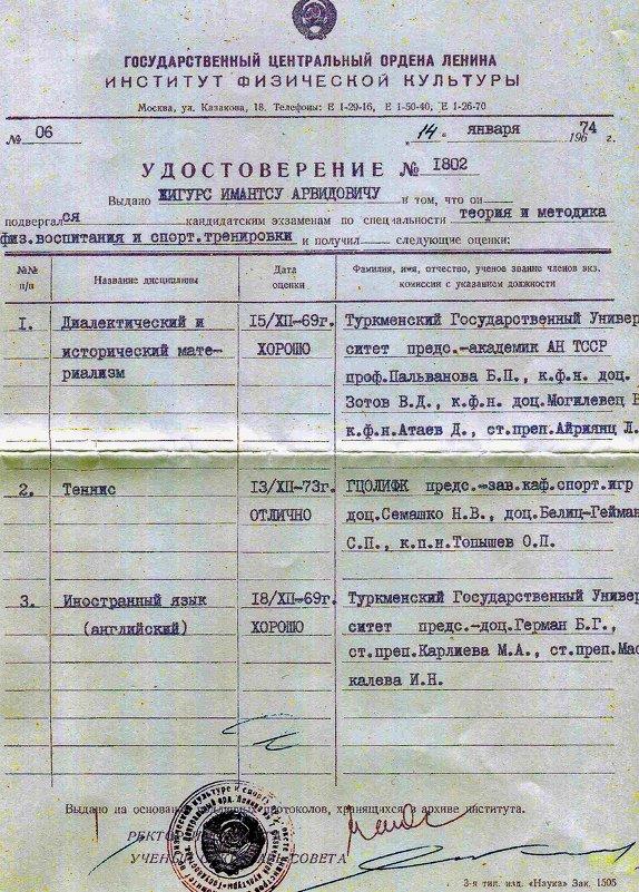 Удостоверение для аспирантуры - imants_leopolds žīgurs