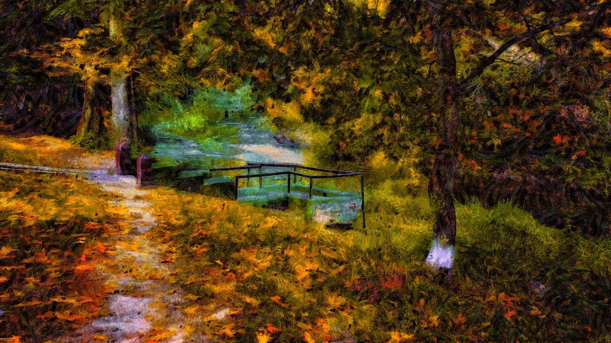 Смотровая площадка у обмелевшей речушки (art-рис.) - Глeб ПЛATOB