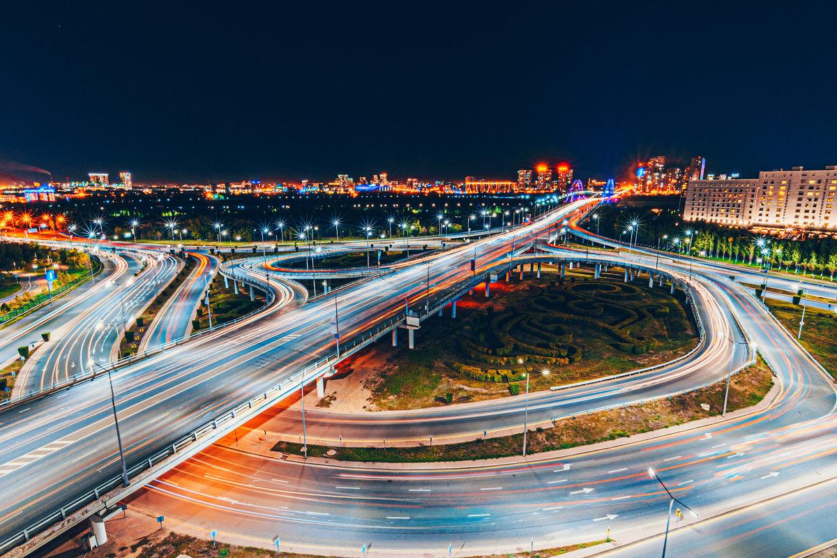 Ночная развязка на мосту Астаны - Александр (sanchosss) Филипенко