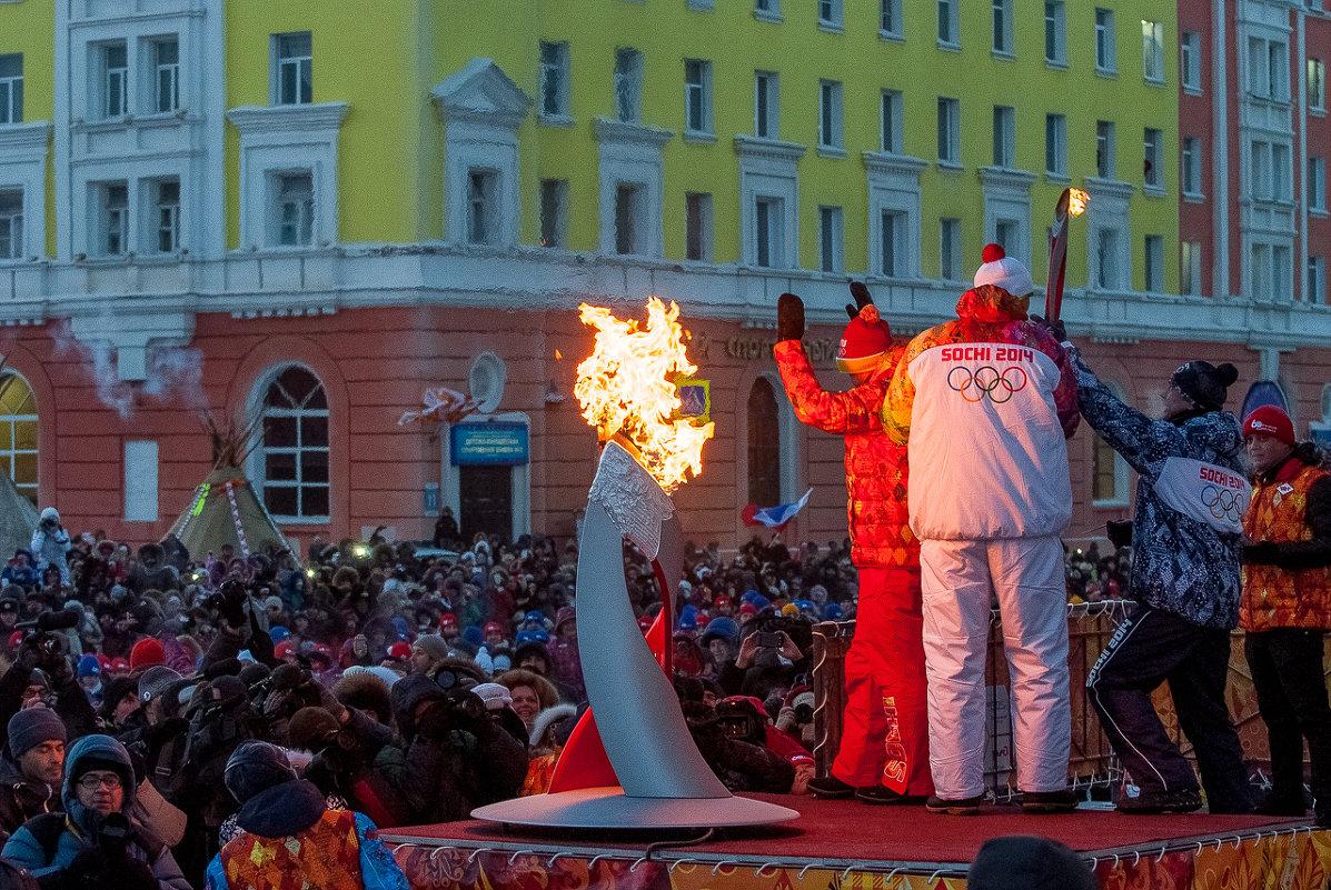 Олимпийский огонь в Норильске. 07.11.13г. - Андрей Кийко