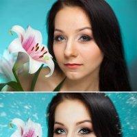 девушка с лилией (до и после) :: Veronika G