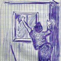 Светлана Романовна моет окно. :: Роман Деркаченко