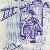 Светлана Романовна возле сарая. :: Роман Деркаченко