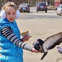 Девочка и голуби. :: Анатолий Сидоренков