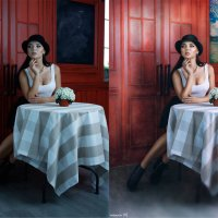 мечтательная особа за столиком (до и после) :: Veronika G
