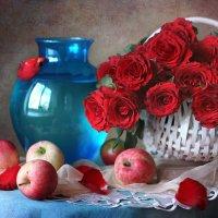 Этюд с яблоками и розами. :: lady-viola2014 -