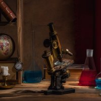 Учёный натюрморт с микроскопом и полкой :: Светлана Л.