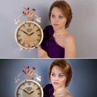девушка с часами (до и после) :: Veronika G