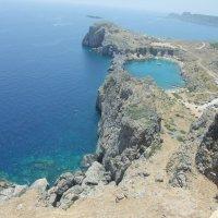Вид со стен акрополя Линдоса, Греция :: Елена Лукожева