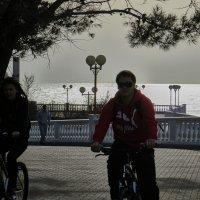 велосипедисты на фоне моря :: Валерий Дворников