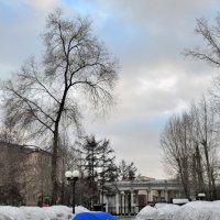 В старом парке тает снег или путешествие синего зонта... :: Сергей Коновалов