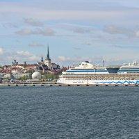 Таллин. Вид на порт и старый город. :: Олег Попков