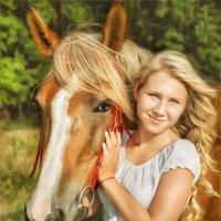 Дарья и ее новая знакомая Сивка :: Юлия Никифорова