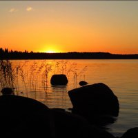 Залив Уксунлахти...   Уходящее солнце.... :: Елена Швецова