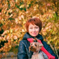 Осенняя фотка с Цилей) :: Евгений Золотаев