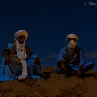 Berber camellers under the full moon in the desert. :: Alexander Kopytov