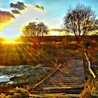 Закат солнца на речке у мостика :: Сергей Ионников