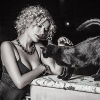 chica blanka y gata negra :: Маргарита Васюкова