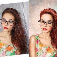(до и после) портрет в небесном фоне :: Veronika G