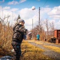 Дед, а я снег нашел, лови. (...или, всегда под присмотром...).  Комсомольск на Амуре. Вторые сады. :: Сергей Щелкунов