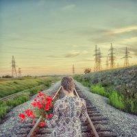 Железная дорога, маки, закат :: Юра Овсянкин