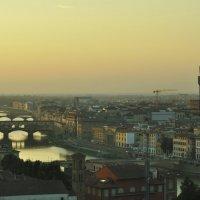 Флоренция. Понте Веккьио. Золотой мост в золоте заката. Florence. Ponte Vecchio Golden sunset. :: Юрий Воронов