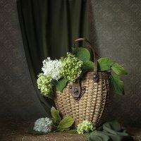Плетёная сумка с зелёными гортензиями. :: Людмила Костюченко