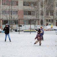 Снег и летящий снежок. :: Надежда Ивашкина