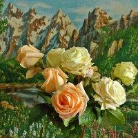 Букет осенних роз на фоне горного пейзажа :: Светлана