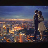 Коллаж ночной поцелуй. :: Александр Белов
