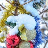 Новогодние игрушки на елочке около дома :: Сергей Тагиров