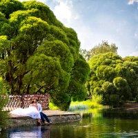 поцелуй жениха и невесты у озера :: Егор Чеботаренко