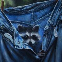"""Енот в джинсах."" Картина написана маслом. 90х60 :: Лара Гамильтон"