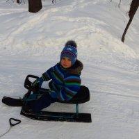 Но он - и лыжник (лыжи несет мама) :: Андрей Лукьянов