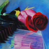 """""""Лежала роза на рояле.""""( Картина написана пастельными мелками). :: Лара Гамильтон"""