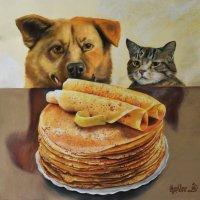 На долго ль еда эта собаке и кошке? Узнаешь, оставив их одних на немножко! (Выполнено пастелью). :: Лара Гамильтон