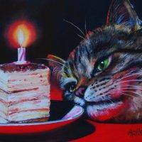 Всемирный день кошек cегодня у нас и я припасла картину для ВАС! (Работа выполнена пастелью). :: Лара Гамильтон
