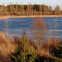 мартовский карьер-ещё ходят рыбаки по льду :: Александр Прокудин