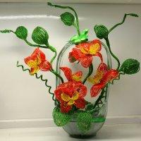 Красная орхидея из бисера :: Оля Богданович